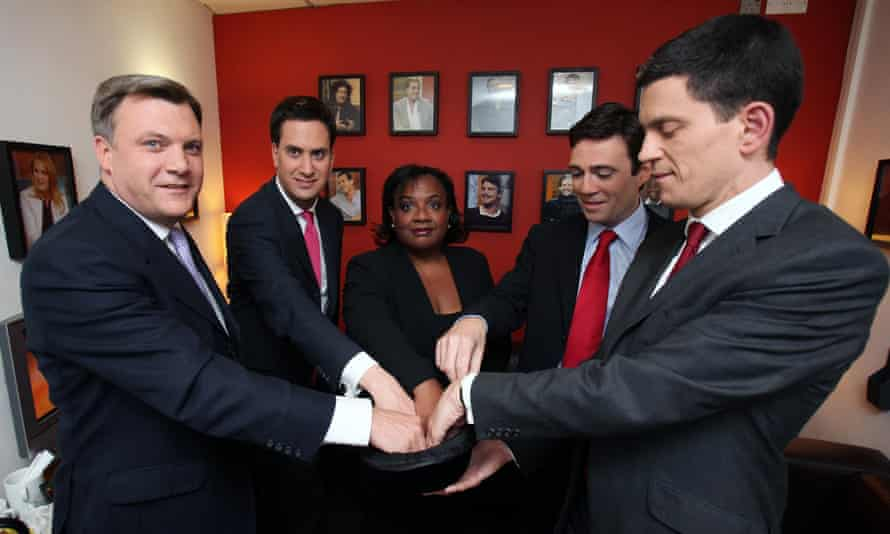 From left: Ed Balls, Ed Miliband, Diane Abbott, Andy Burnham and David Miliband draw lots ahead of a Labour leadership debate on the BBC in 2010.