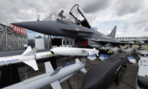 A Eurofighter Typhoon aircraft at the BAE Systems exhibition space during the Farnborough Airshow in July 2018