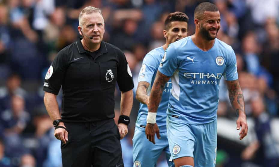 Manchester City's Kyle Walker smiles after referee Jonathan Moss overturns his red card against Southampton