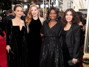 Actors Natalie Portman, Jessica Chastain, Octavia Spencer and America Ferrera arrive to the 75th Annual Golden Globe Awards