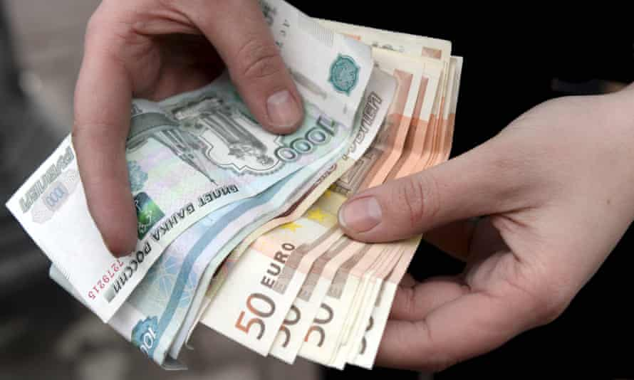 Russian roubles and euros