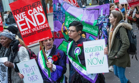 Demonstrators at the Million Women Rise march against violence against women in London
