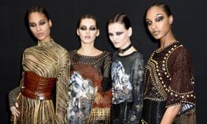 Soft rock aesthetic … models at the Balmain show during Paris fashion week.
