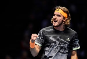 Tsitsipas fights back to hold.