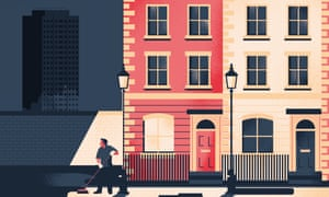 Illustration of man sweeping street in front of smart houses with Grenfell Tower in the distance