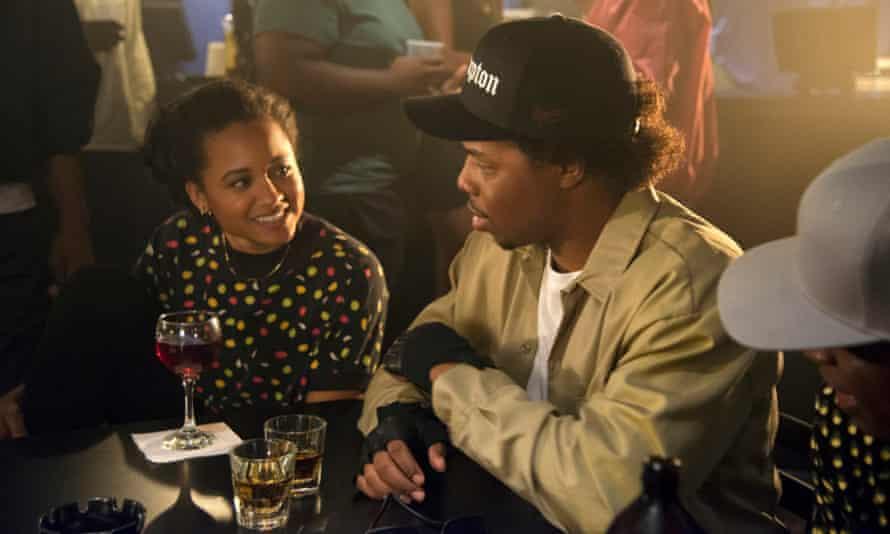 Rhyon Nicole Brown as Michel'le and Omari Wallace as Eazy E in Surviving Compton.