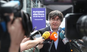 Carles Puigdemont talks to the media in Brussels