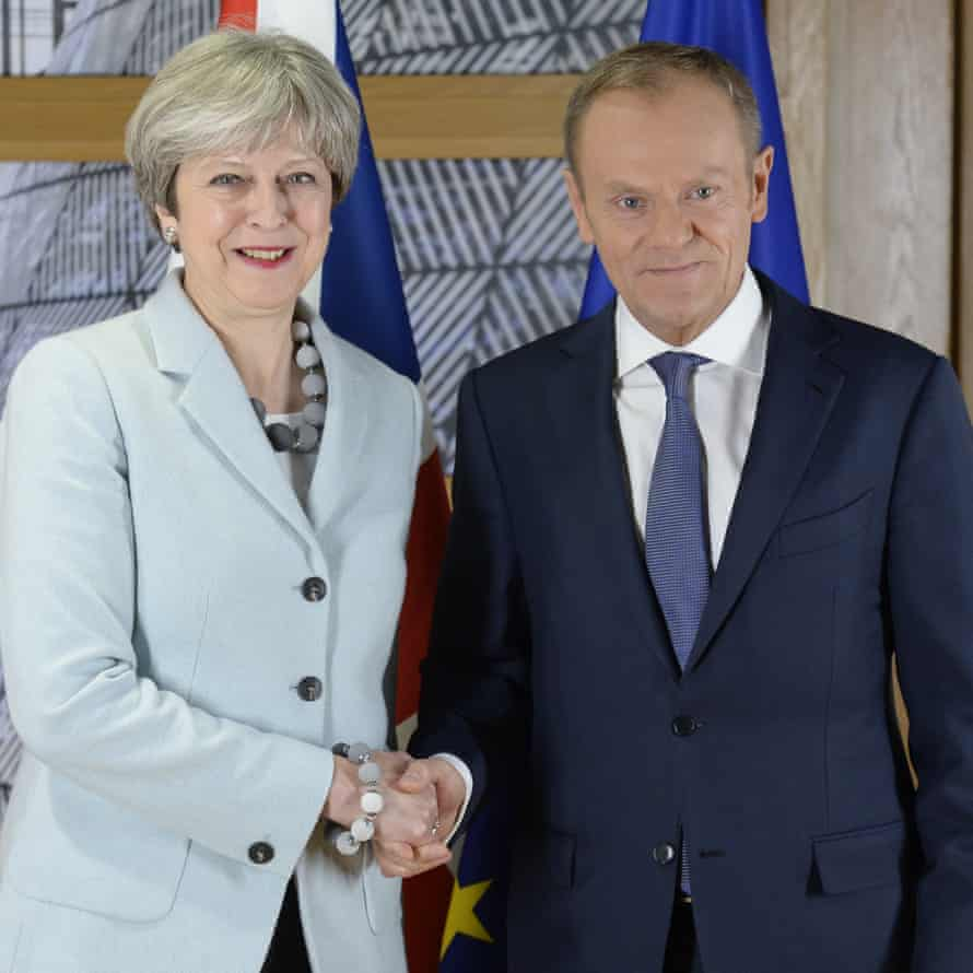 Theresa May and Donald Tusk in Brussels on Friday.