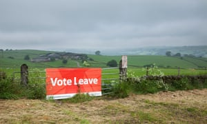 A Leave campaign on a Derbyshire farm. UK farmers receive about £3bn a year via EU subsidies.