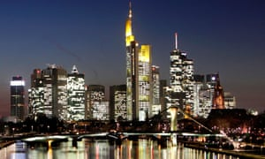 The skyline of Frankfurt with the headquarters of various German Banks and the European Central Bank.