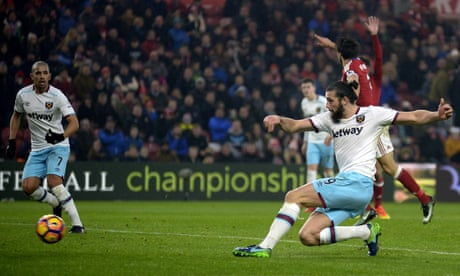 Andy Carroll's double sinks Middlesbrough as West Ham climb table