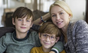 Now pour syrup over everything … Jaeden Lieberher, left, Jacob Tremblay and Naomi Watts in The Book of Henry.