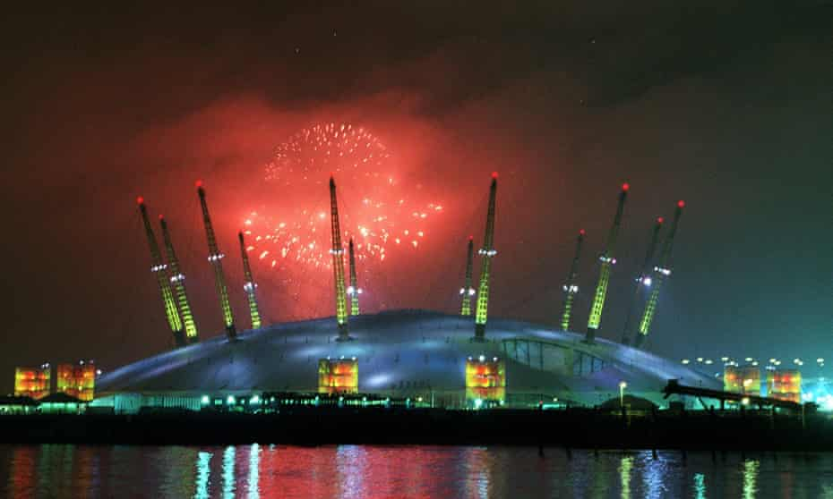 Fireworks at midnight as the Millennium Dome is launched, London, 1 January 2000.