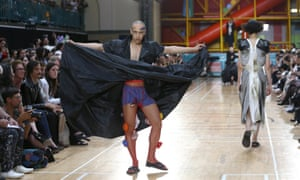 Male models at the Vivienne Westwood show at London Fashion Week.