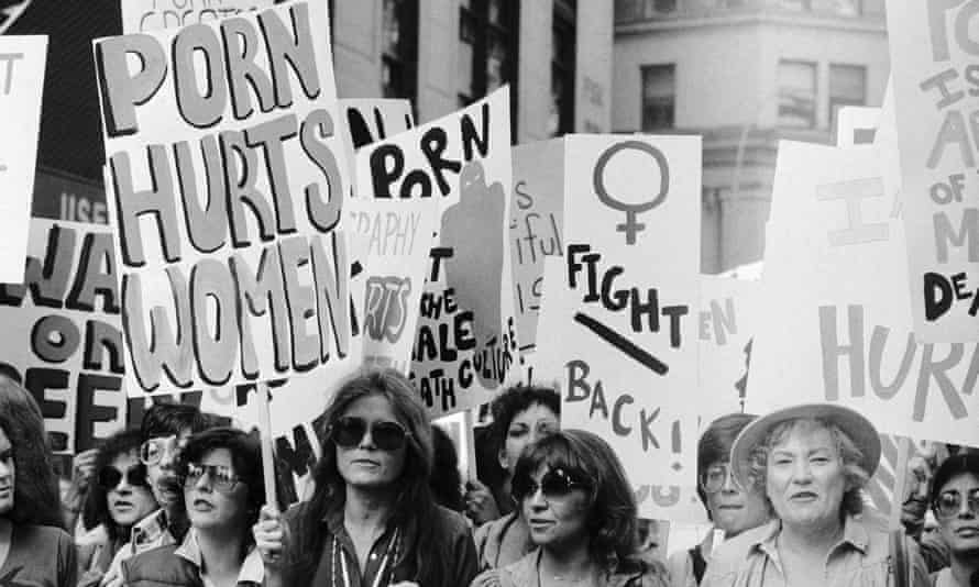 Gloria Steinem marching against pornography in New York in 1979