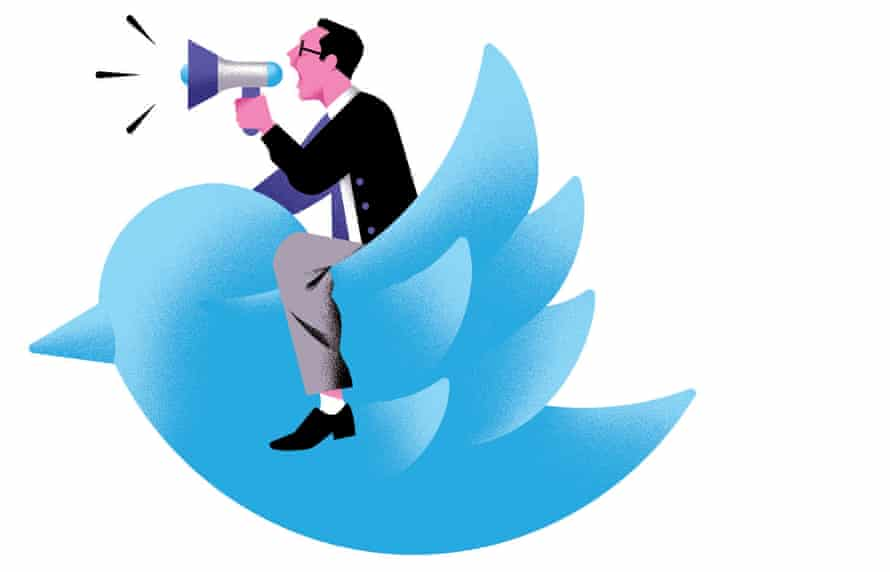 Illustration of man with megaphone and purple face on blue Twitter logo bird