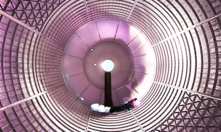 Work is carried out on a Space Launch System liquid oxygen tank.