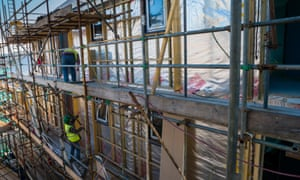 Workers on a building site. The survey found 19 new developments had been cancelled.