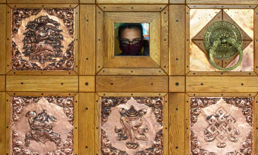 Looking out from the doors of Samye Ling Tibetan Buddhist monastery.