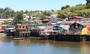 Properties on stilts on Chiloé Island, Chile.