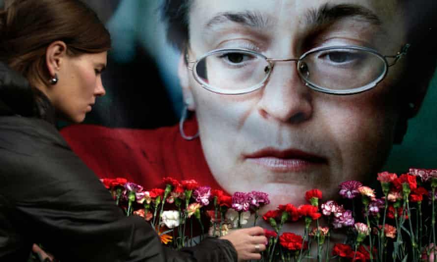 A portrait of murdered journalist Anna Politkovskaya.
