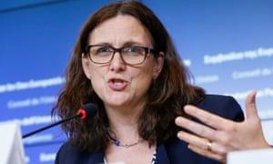 EU commissioner for trade Cecilia Malmström in Luxembourg on 18 October.