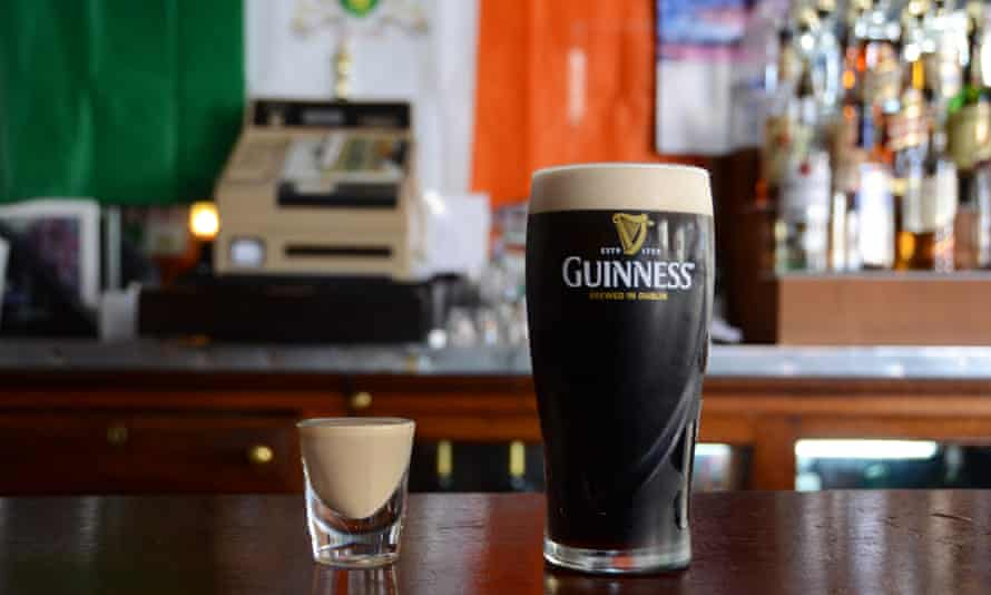 An Irish car Bomb – a mixture of Irish whiskey and Baileys, served with a Guinness