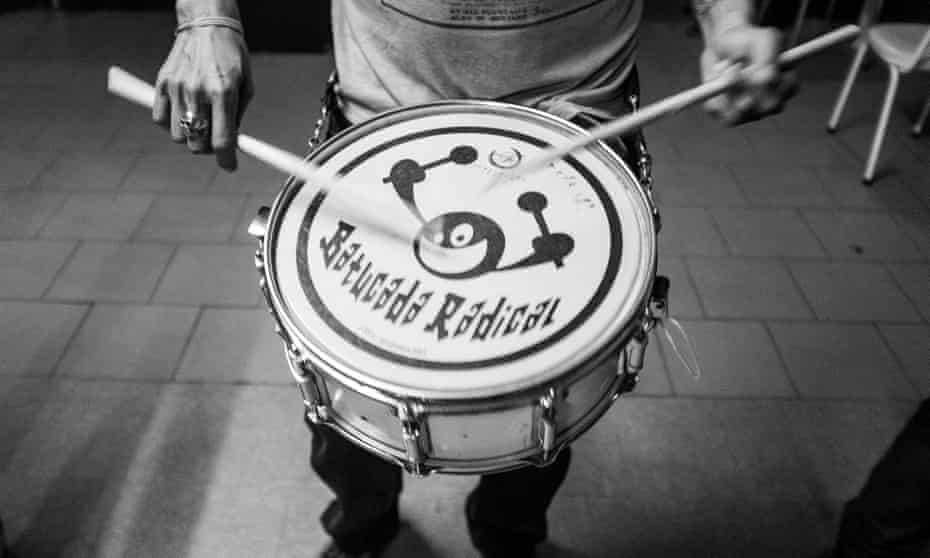 A drummer takes part in a rehearsal for Batucada Radical at Stop.