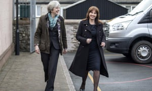 Theresa May and the Conservative candidate for the upcoming Copeland byelection, Trudy Harrison, arrive for a visit to Captain Shaw's primary school in Bootle
