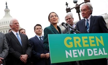 US congresswoman Alexandra Ocasio-Cortez campaigning for a Green New Deal