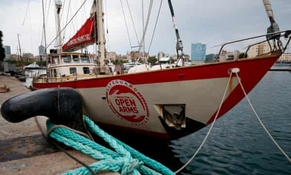 A boat belonging to the Spanish organisation Proactiva Open Arms is seen moored in Barcelona