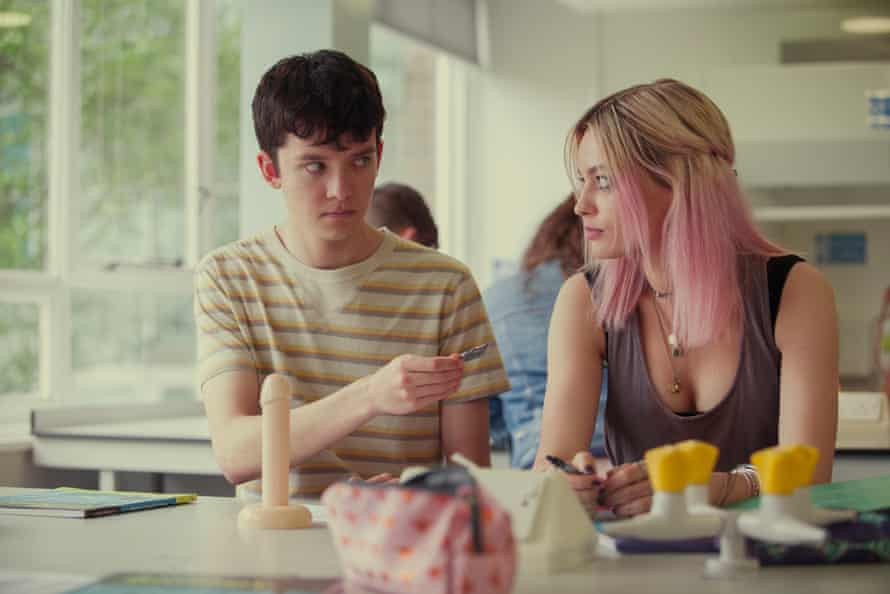 Asa Butterfield as Otis and Emma Mackey as his unrequited crush, Maeve, a bookish bad girl with a soft centre.