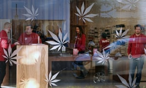 Customers at MedMen, a medical marijuana dispensary in Los Angeles. Use of the drug to ease pain and disease has already been decriminalised in California.