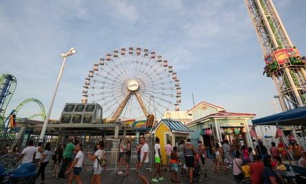 Seaside Heights beach boardwalk is packed despite the novel coronavirus pandemic in New Jersey.