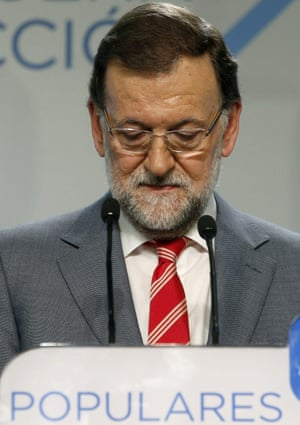 Spanish Prime Minister and Popular Party leader Mariano Rajoy addresses the media after the National Executive Committee about the local and regional elections at the headquarters of the party in Madrid, Spain.