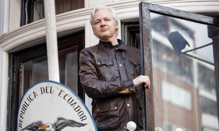 Julian Assange on the balcony of the Ecuadorian embassy, London