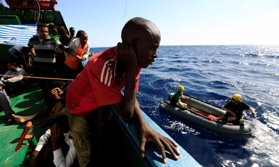 People onboard the Iuventa after being rescued off the Libyan coast, September 2016.