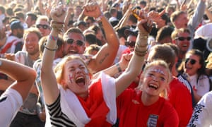 England fans celebrate at Hyde Park in central London during the World Cup