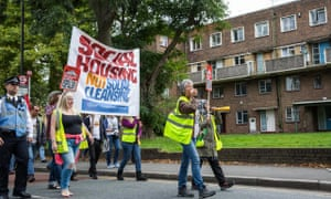 Social housing campaigners march from Seven Sisters to Finsbury Park in Haringey last month.