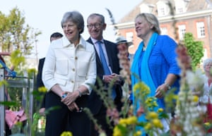 Theresa and Philip May at the Chelsea flower show in London, UK