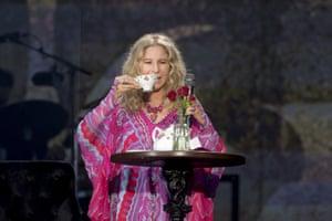 Talks as much as she sings ... Barbra Streisand performing at Hyde Park, London, July 2019.