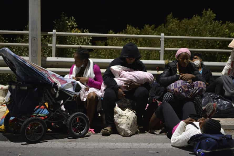 People evacuated from the camp at Moria