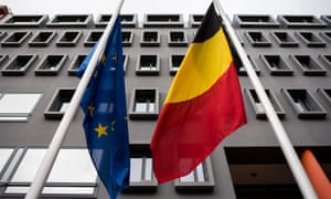 The EU and Belgian flags at half mast