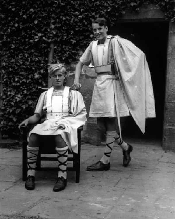 Prince Philip of Greece, seated, in costume for a school production of Macbeth at Gordonstoun, 1935.
