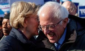 Elizabeth Warren laughs with Bernie Sanders in Columbia, South Carolina last month.