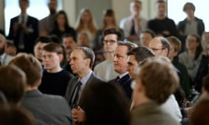 David Cameron during question and answer session with students in Ipswich