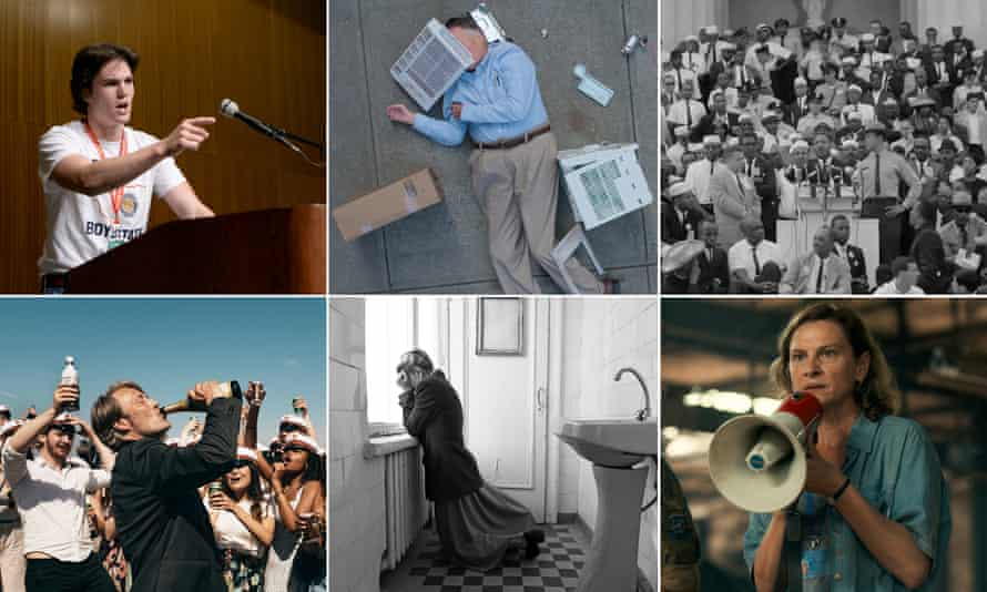 Clockwise from top left: Boys State; Dick Johnson Is Dead; MLK/FBI; Quo Vadis, Aida?; Dear Comrades!; Another Round.