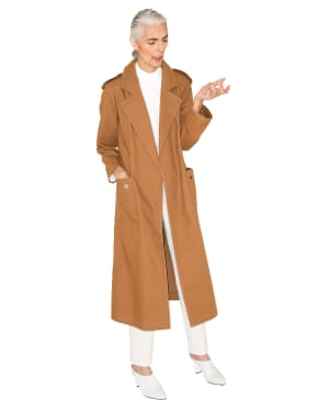 Pam wears coat, £79, and shirt, £29.50, both marksandspencer. com. Trousers, £69, cosstores.com. Shoes, £69, topshop.com