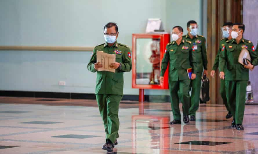 Military chiefs arrive at a news conference ahead of the start of a new parliament term in Myanmar's capital, Naypyitaw this week.