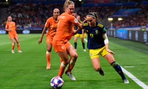 Kosovare Asllani goes past Netherlands defender Desiree van Lunteren during the semi-final.